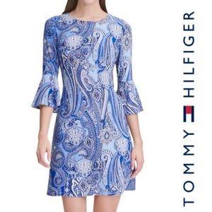 Tommy Hilfiger Paisley Bell-Sleeve Midi Dress 10